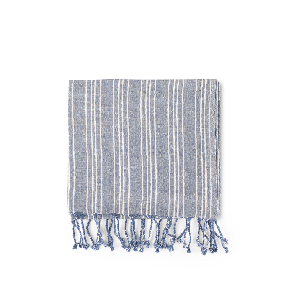 Cotton Linen Ticking Stripe Tea Towel in Blue with Ivory Image 1