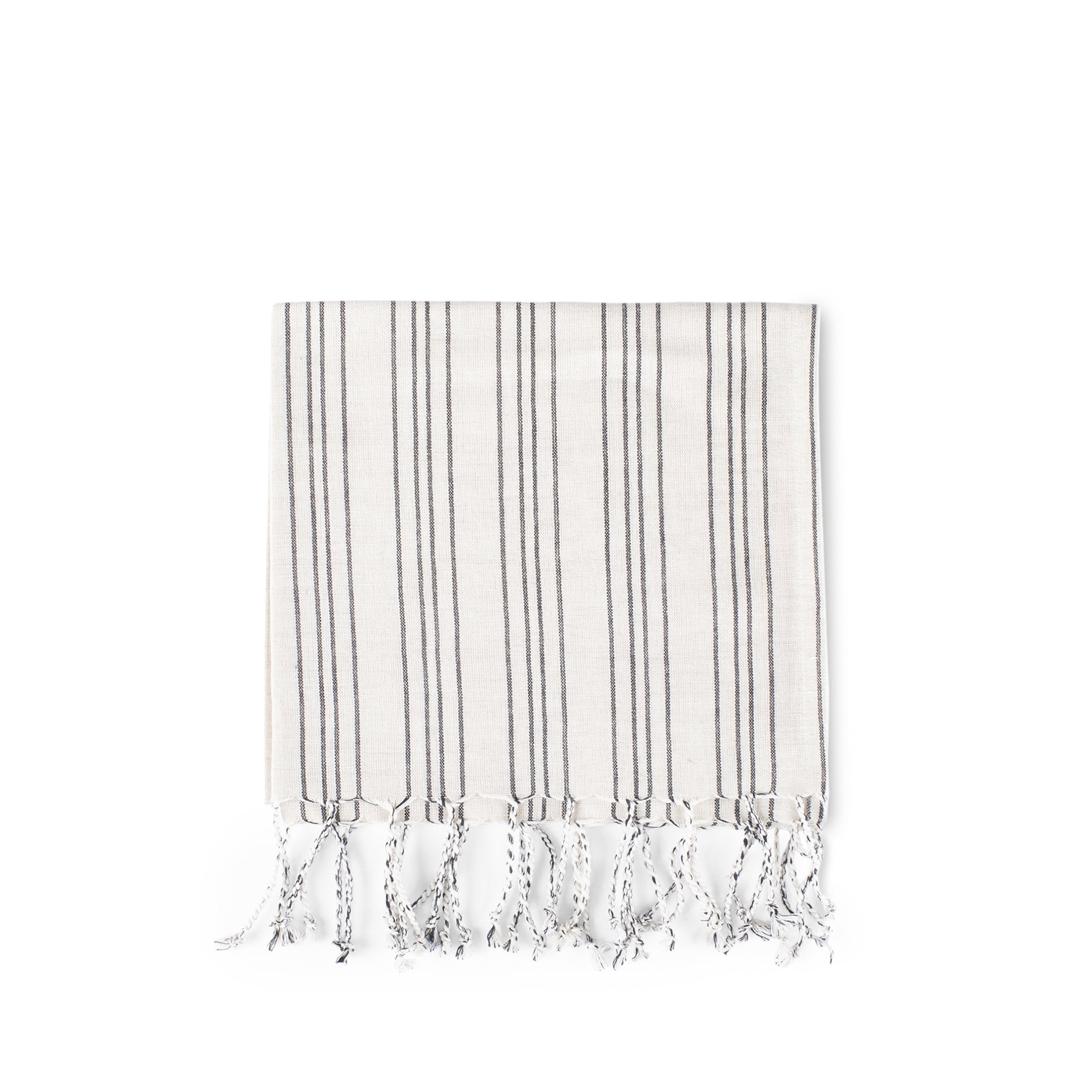 Cotton Linen Ticking Stripe Tea Towel in Ivory with Black Zoom Image 1