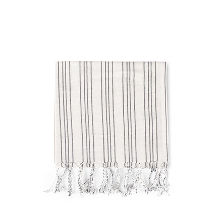Cotton Linen Ticking Stripe Tea Towel in Ivory with Black