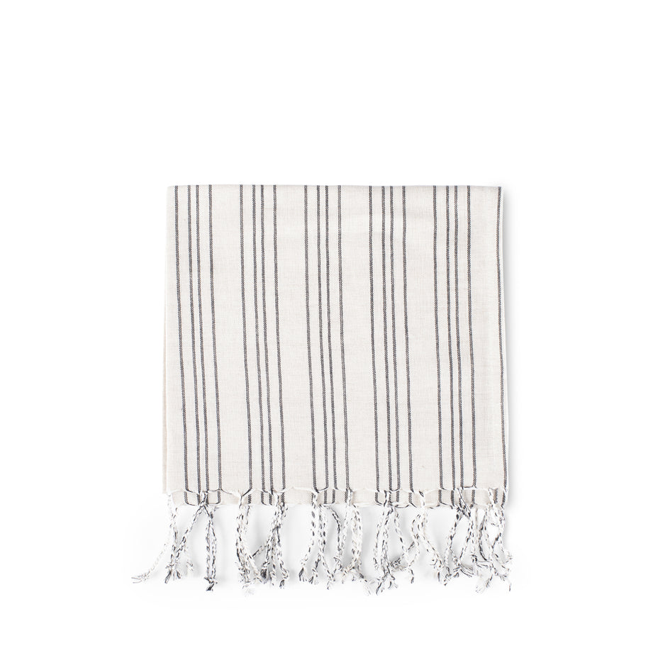 Cotton Linen Ticking Stripe Tea Towel in Ivory with Black Image 1
