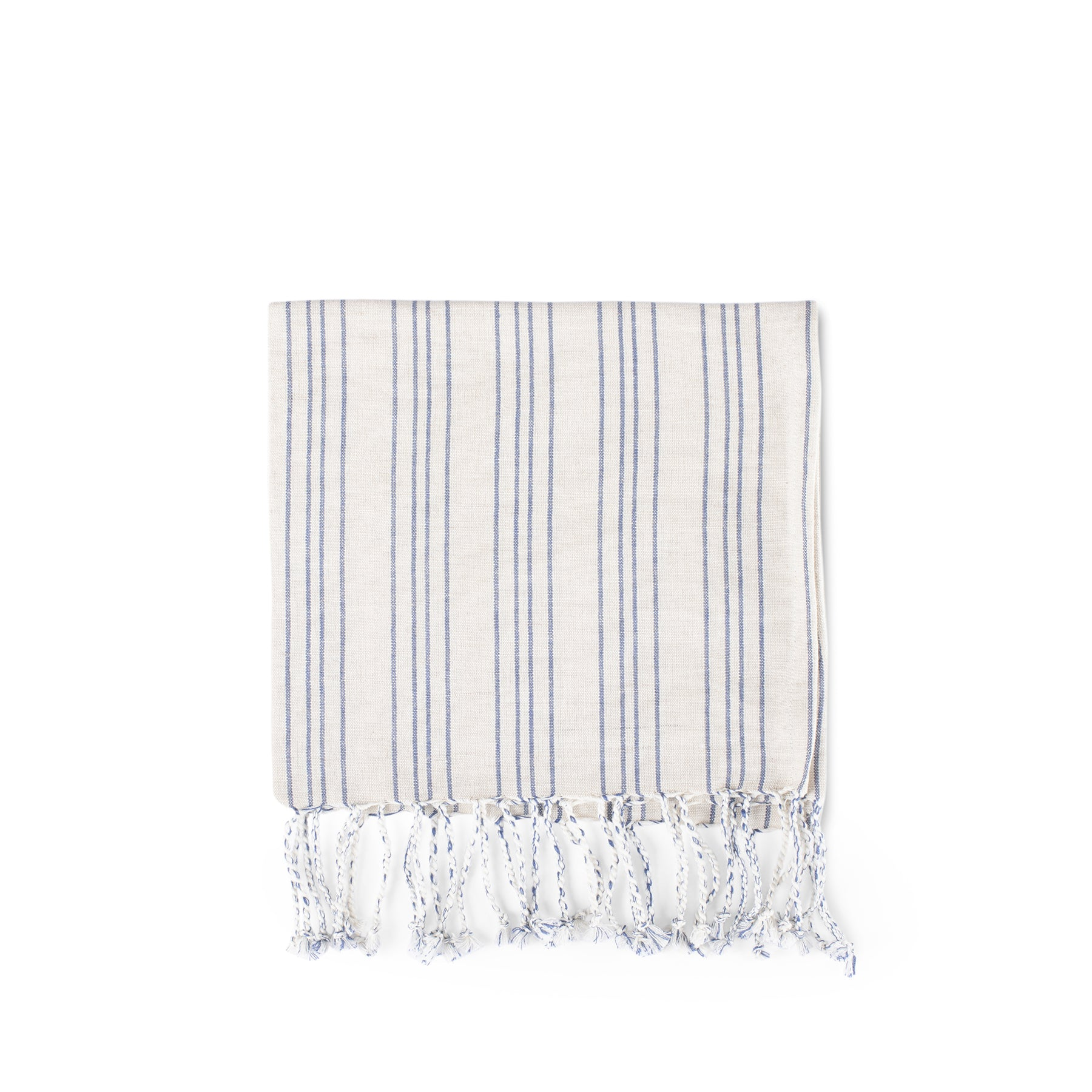 Cotton Linen Ticking Stripe Tea Towel in Ivory with Blue Zoom Image 1