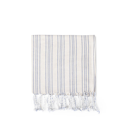 Cotton Linen Ticking Stripe Tea Towel in Ivory with Blue