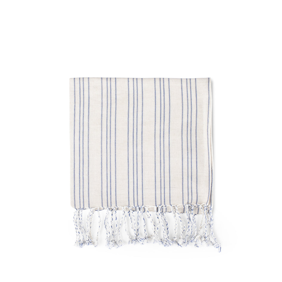Cotton Linen Ticking Stripe Tea Towel in Ivory with Blue Image 1