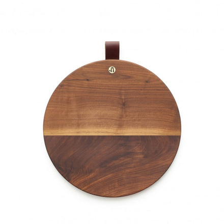 Round Walnut Cutting Board with Leather Tab