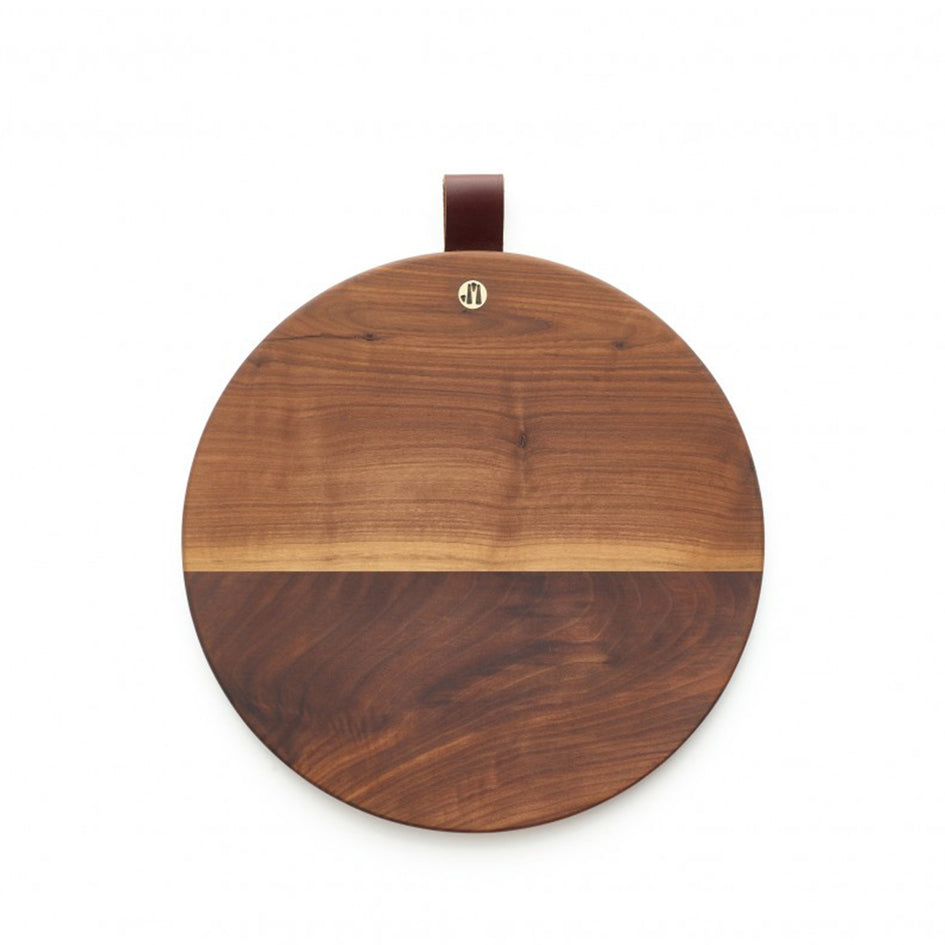 Round Walnut Cutting Board with Leather Tab Image 1