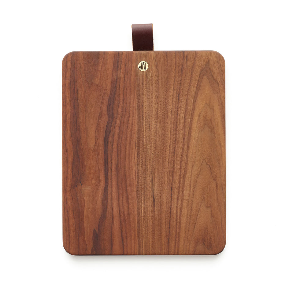 Rectangular Walnut Cutting Board with Leather Tab Image 1