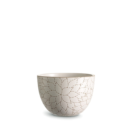 Camellia Etched Deep Serving Bowl in Opaque White
