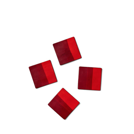 Dipped Leather Coasters in Red (Set of 4)