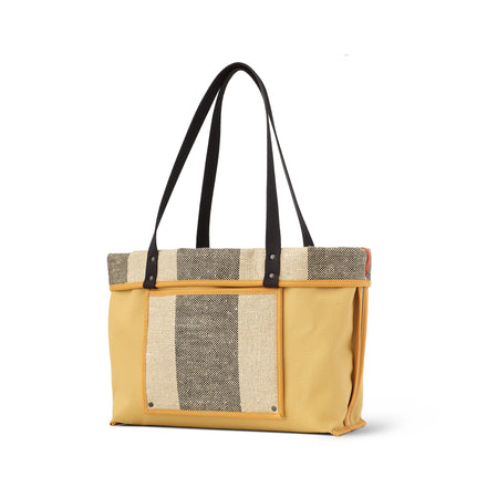Linen Large Reversible Tote in Saffron