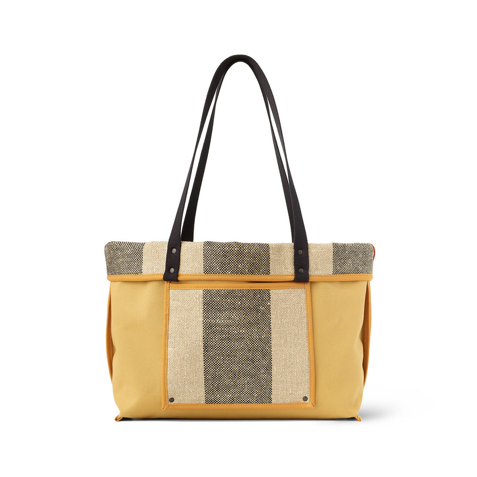 Linen Large Reversible Tote in Saffron Zoom Image 3
