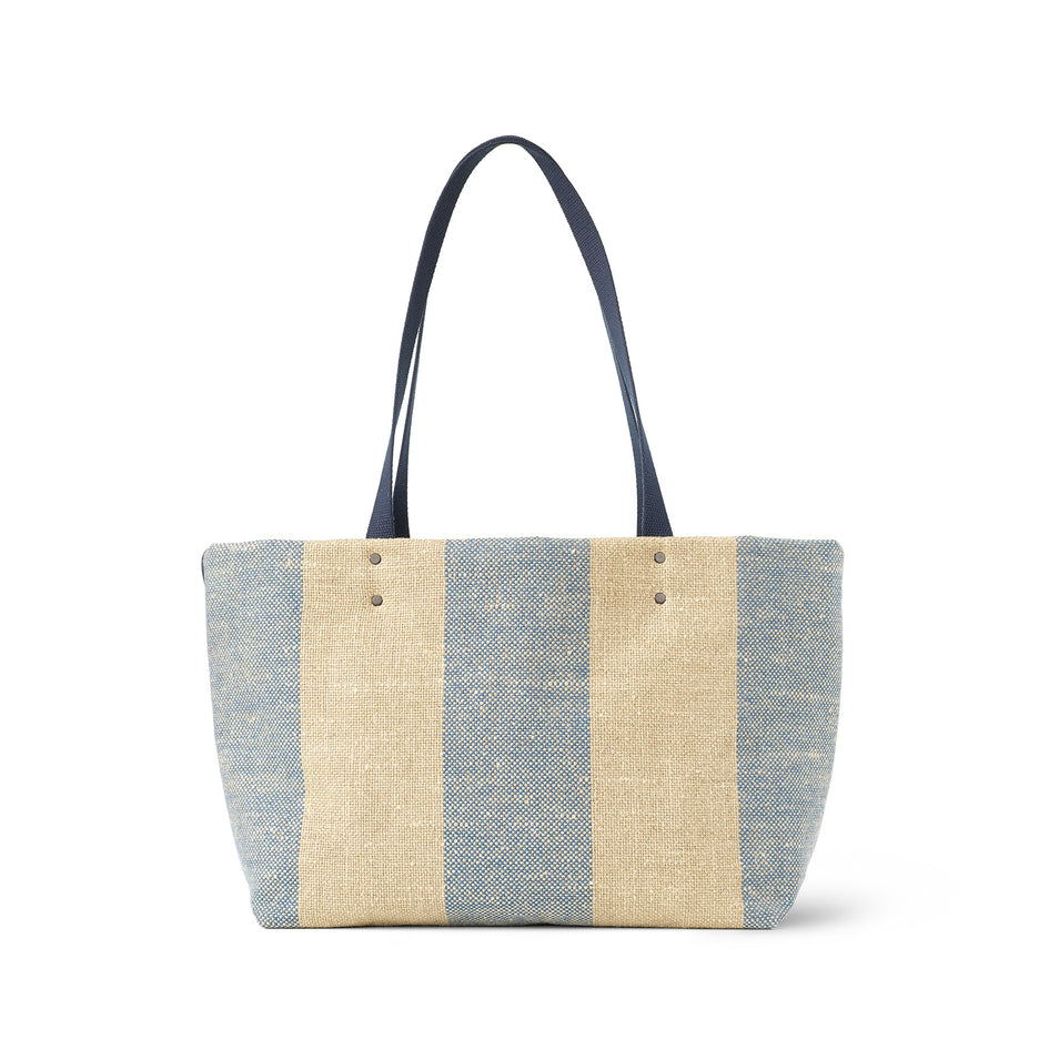 Linen Large Reversible Tote in Marine Image 2