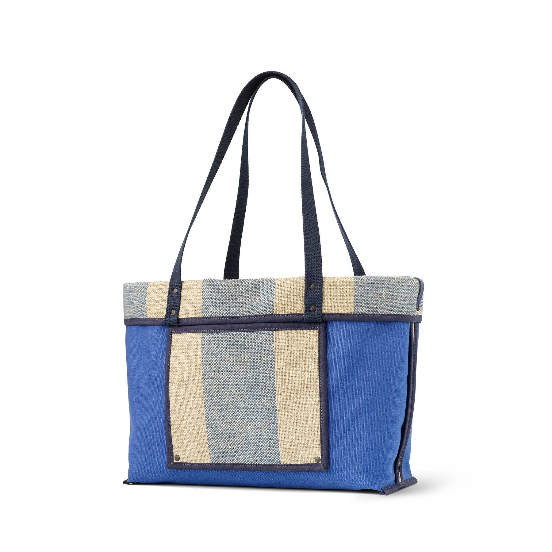 Linen Large Reversible Tote in Marine Zoom Image 1