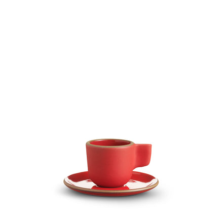 Espresso Cup and Saucer in Ruby Red/Suede Red