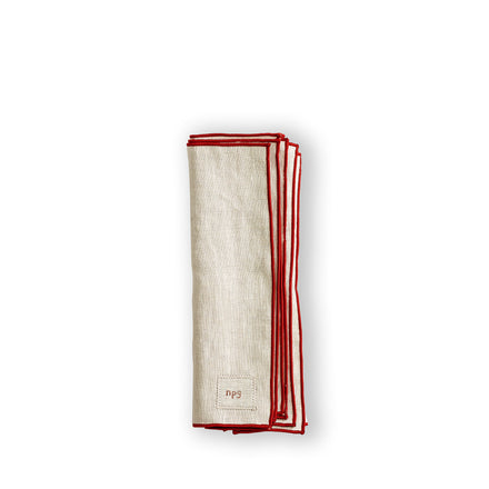 Everyday Napkins in Natural/Red (Set of 4)