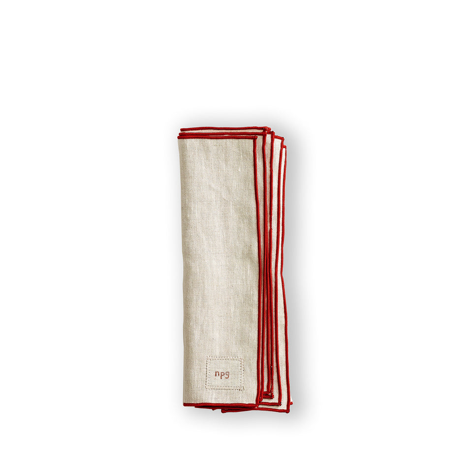 Everyday Napkins in Natural/Red (Set of 4) Image 1