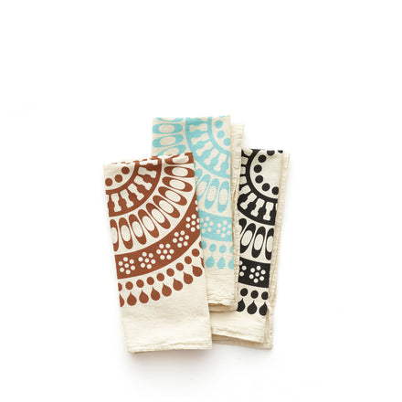 Ornament Tea Towel Set in Black/Aqua/Rust (Set of 3)
