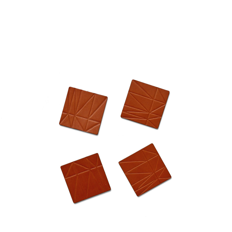 Strike Leather Coasters in Brown (Set of 4) Image 1