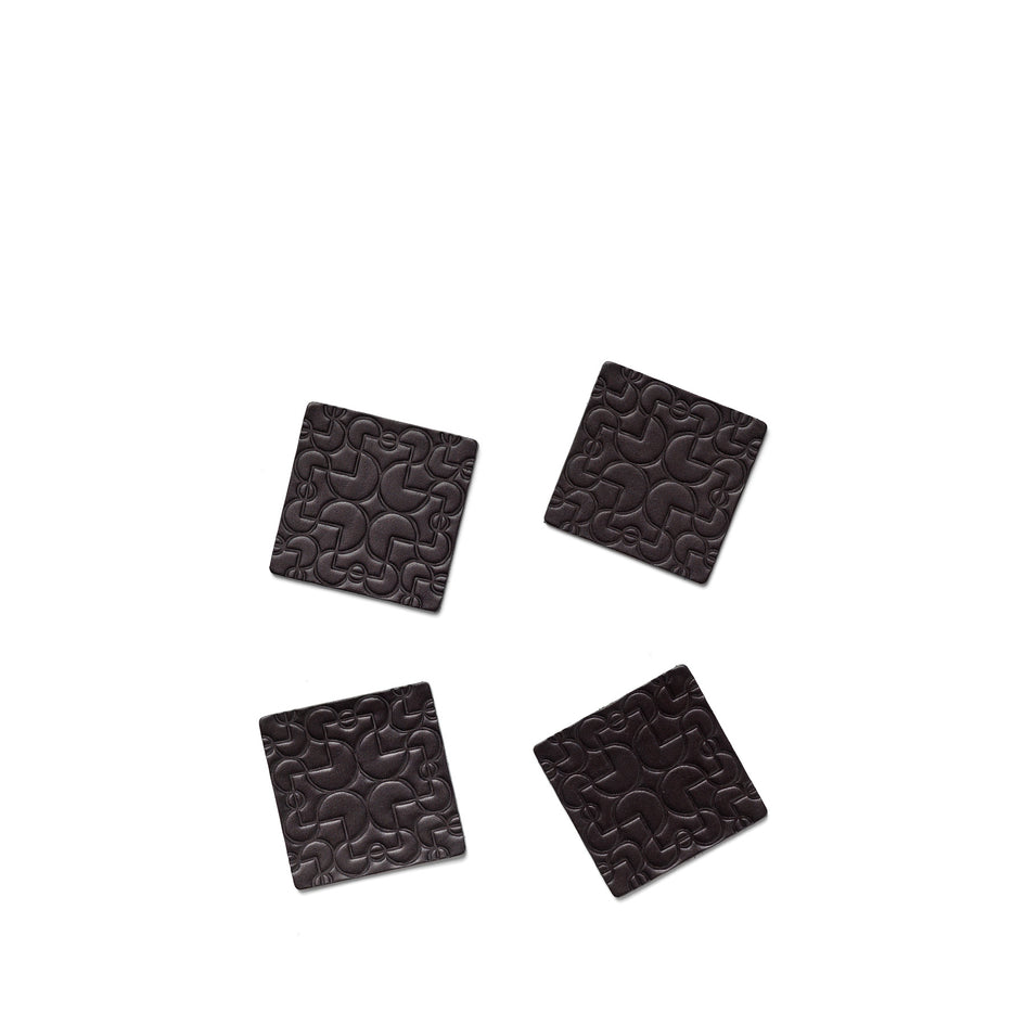 Arcade Leather Coasters in Black (Set of 4) Image 1