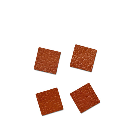 Arcade Leather Coasters in Brown (Set of 4)