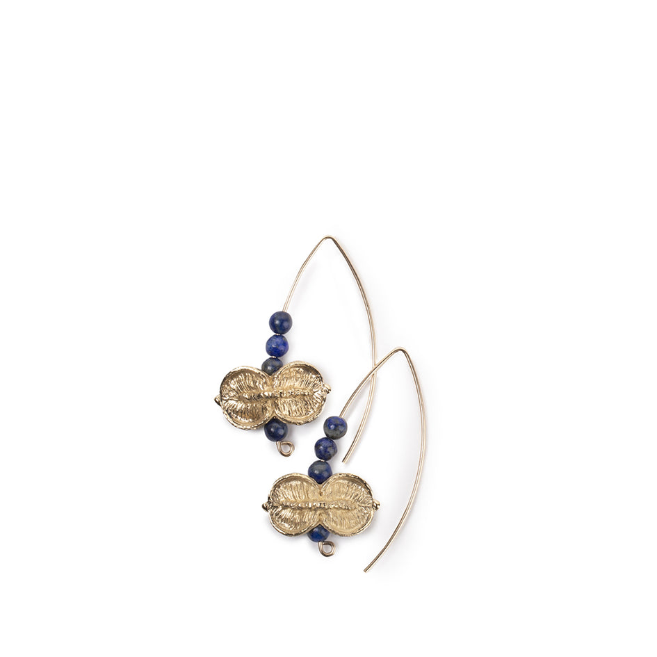 Lapis Earrings with Yellow Bronze Sweet Pittosporum Beads Image 1