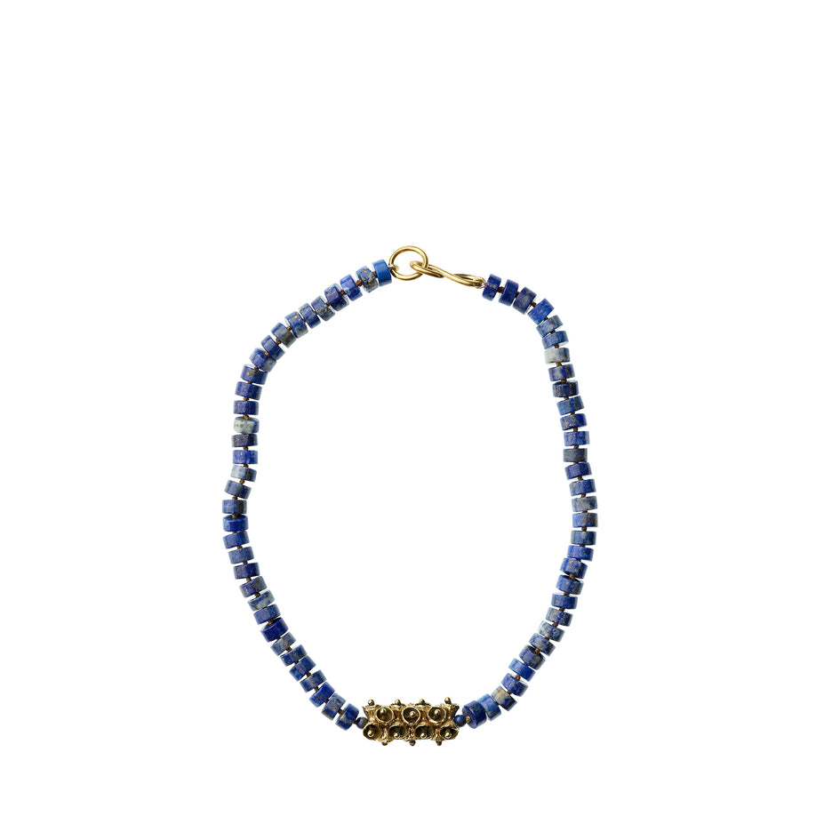 Lapis Lazuli Necklace with Yellow Bronze Pod Beads Zoom Image 2