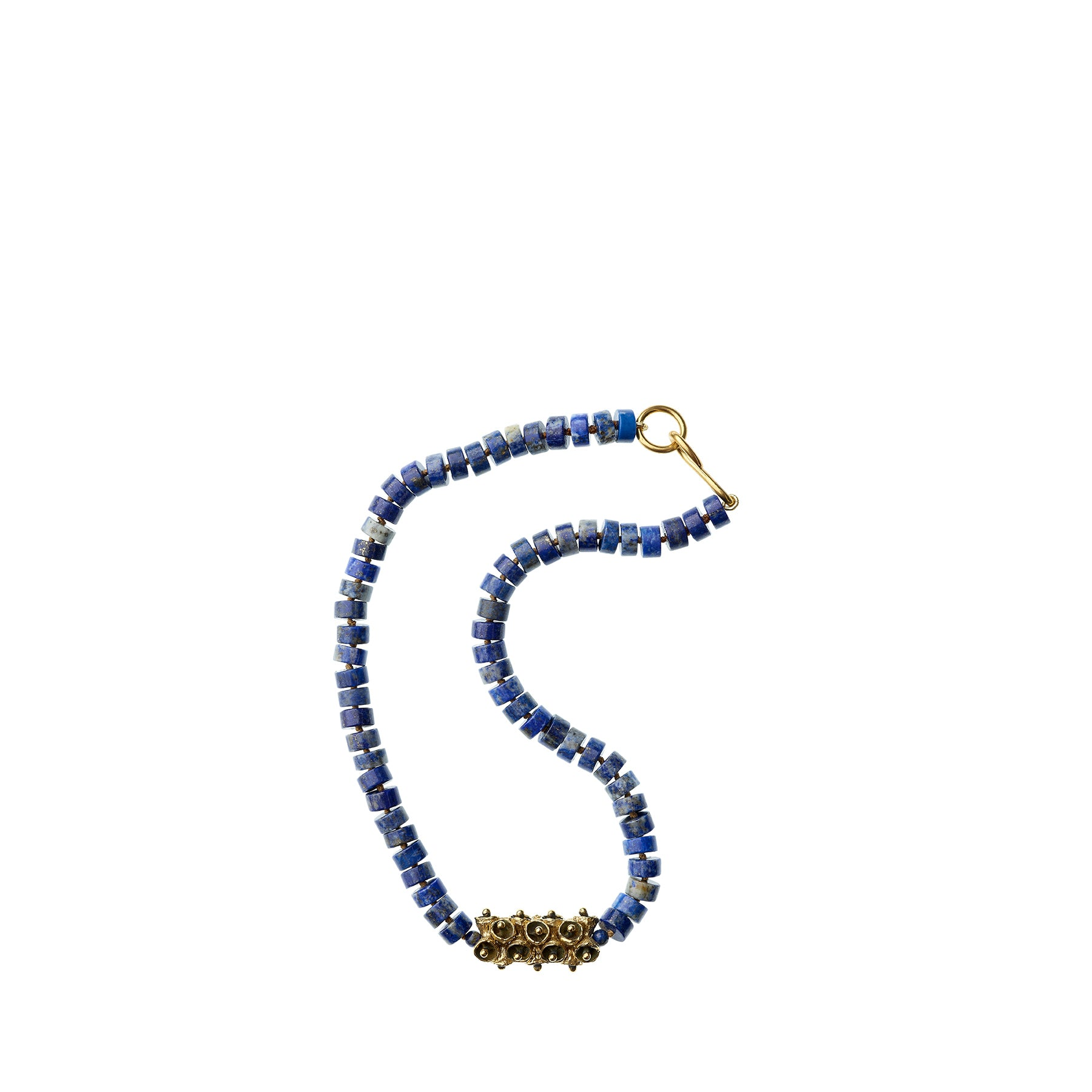 Lapis Lazuli Necklace with Yellow Bronze Pod Beads Zoom Image 1