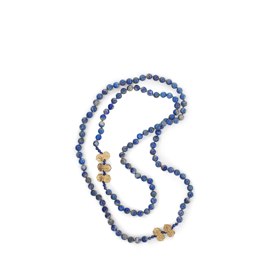 Lapis Necklace with Yellow Bronze Sweet Pittosporum Beads Image 1