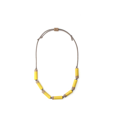 Large Barrel Necklace in Bright Yellow
