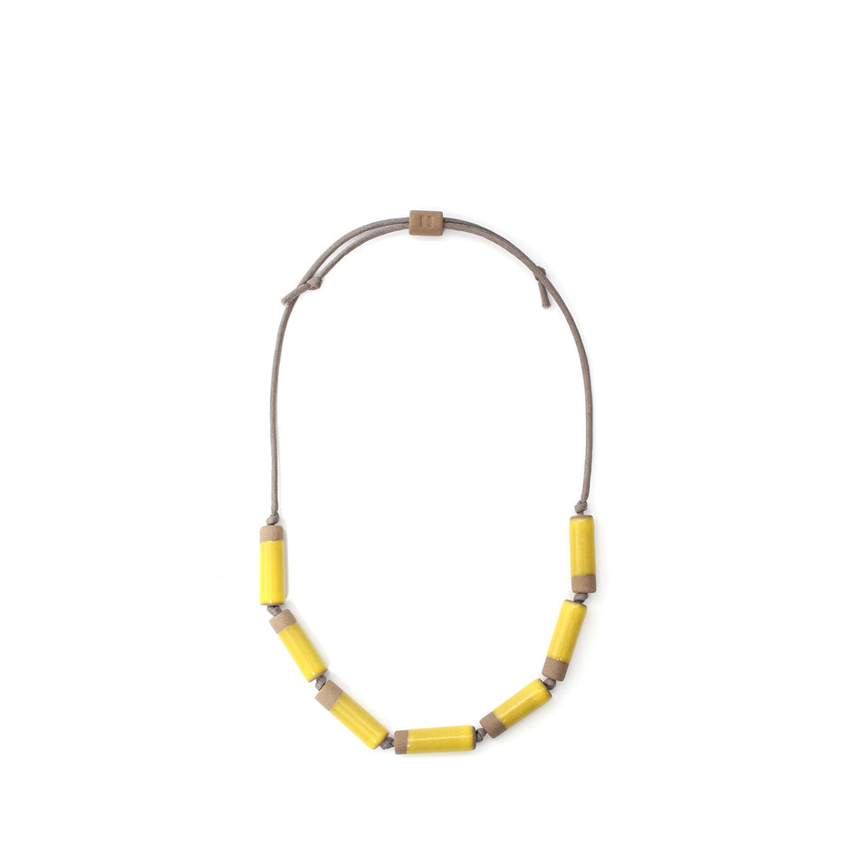 Large Barrel Necklace in Bright Yellow Image 1