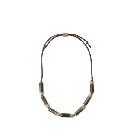 Large Barrel Necklace in Jade Maganese