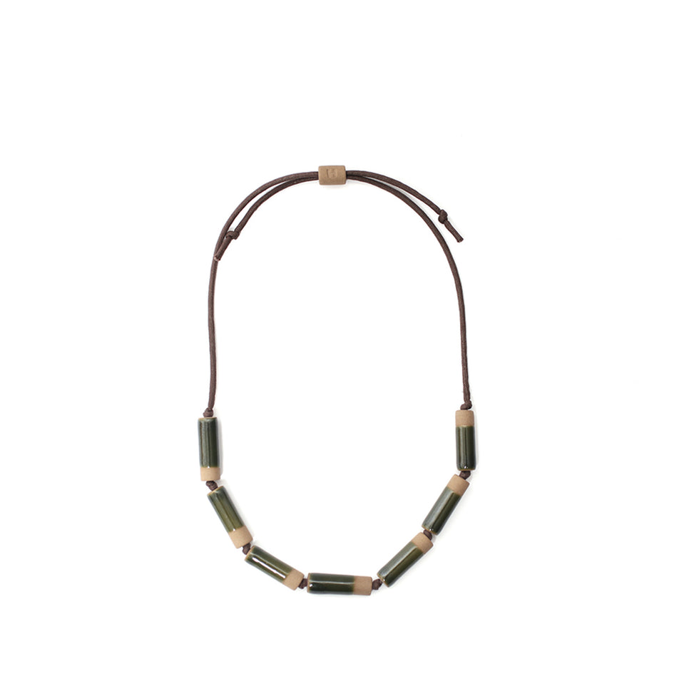Large Barrel Necklace in Jade Maganese Image 1