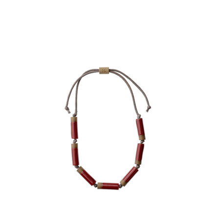 Large Barrel Necklace in Pomegranate