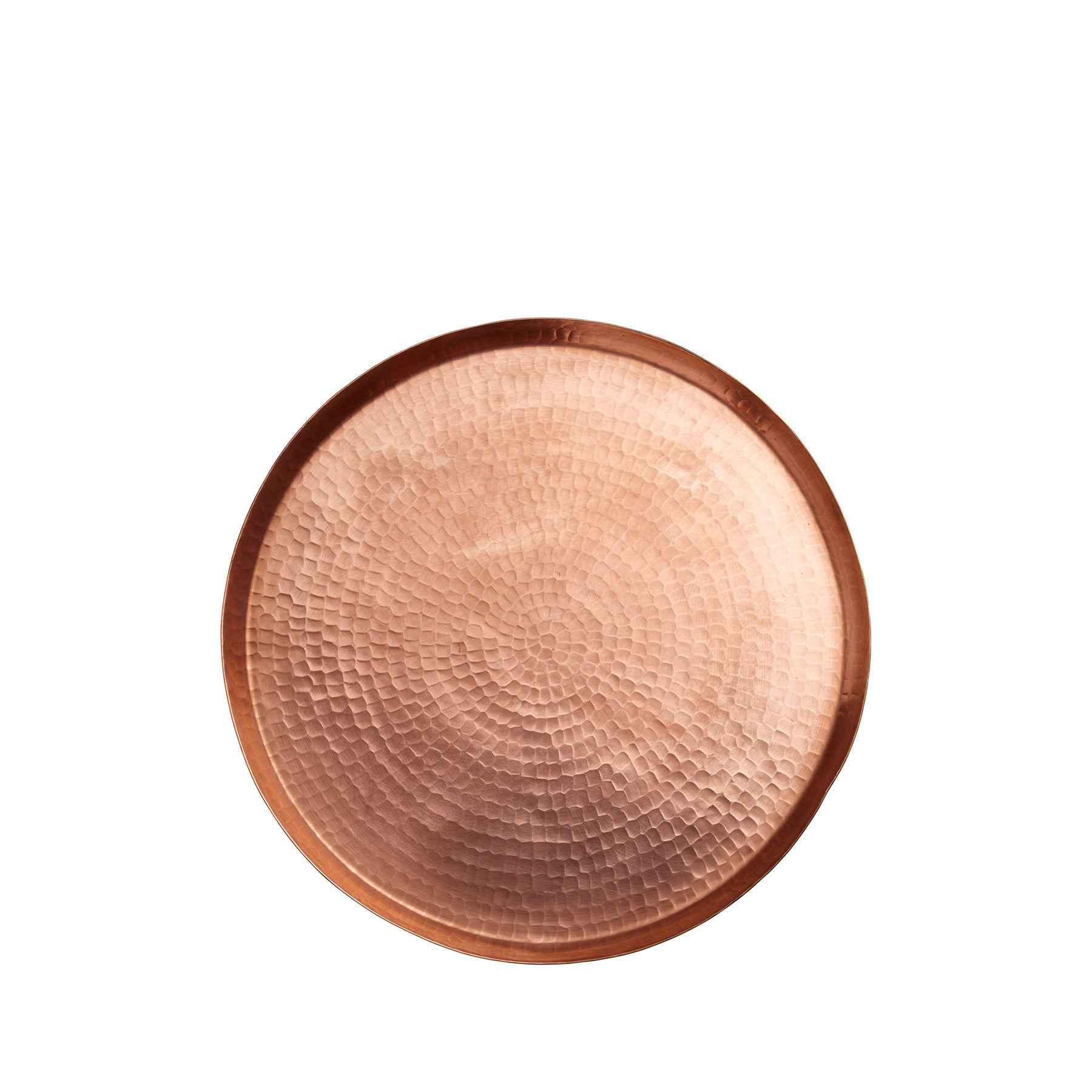 Large Hammered Copper Round Tray Zoom Image 1
