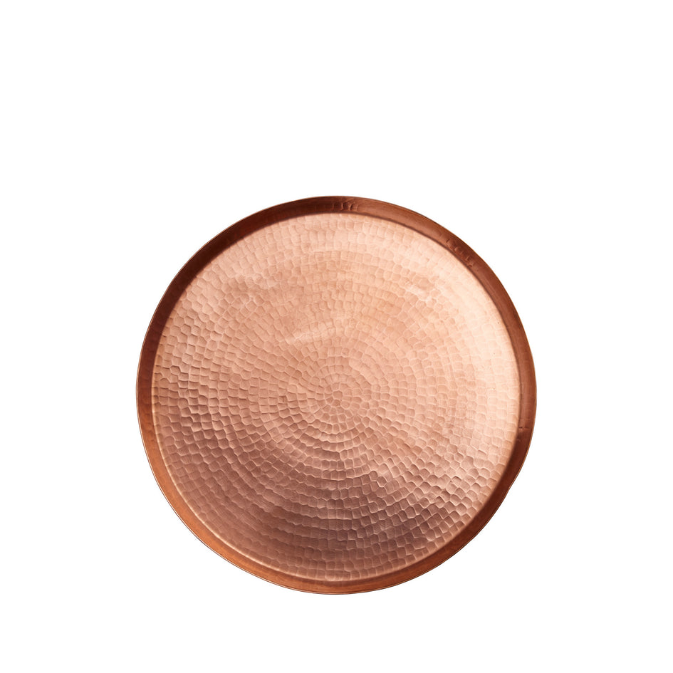 Large Hammered Copper Round Tray Image 1