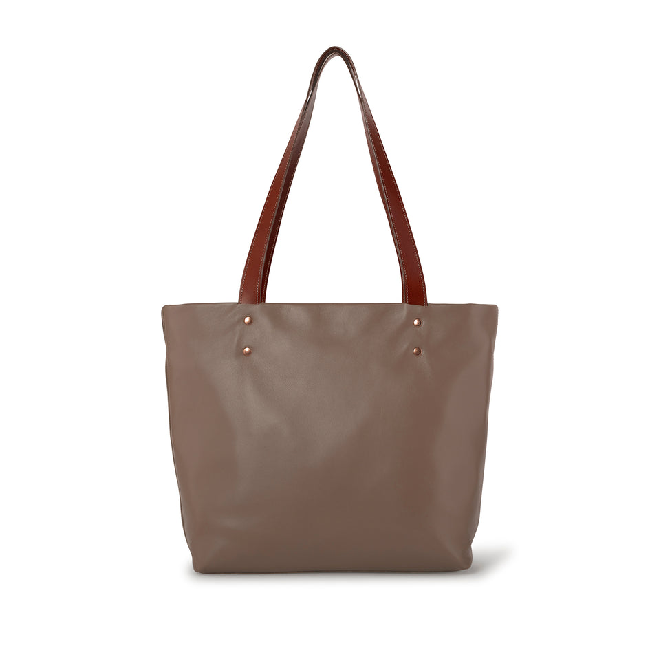 Leather Tote in Barley Image 2