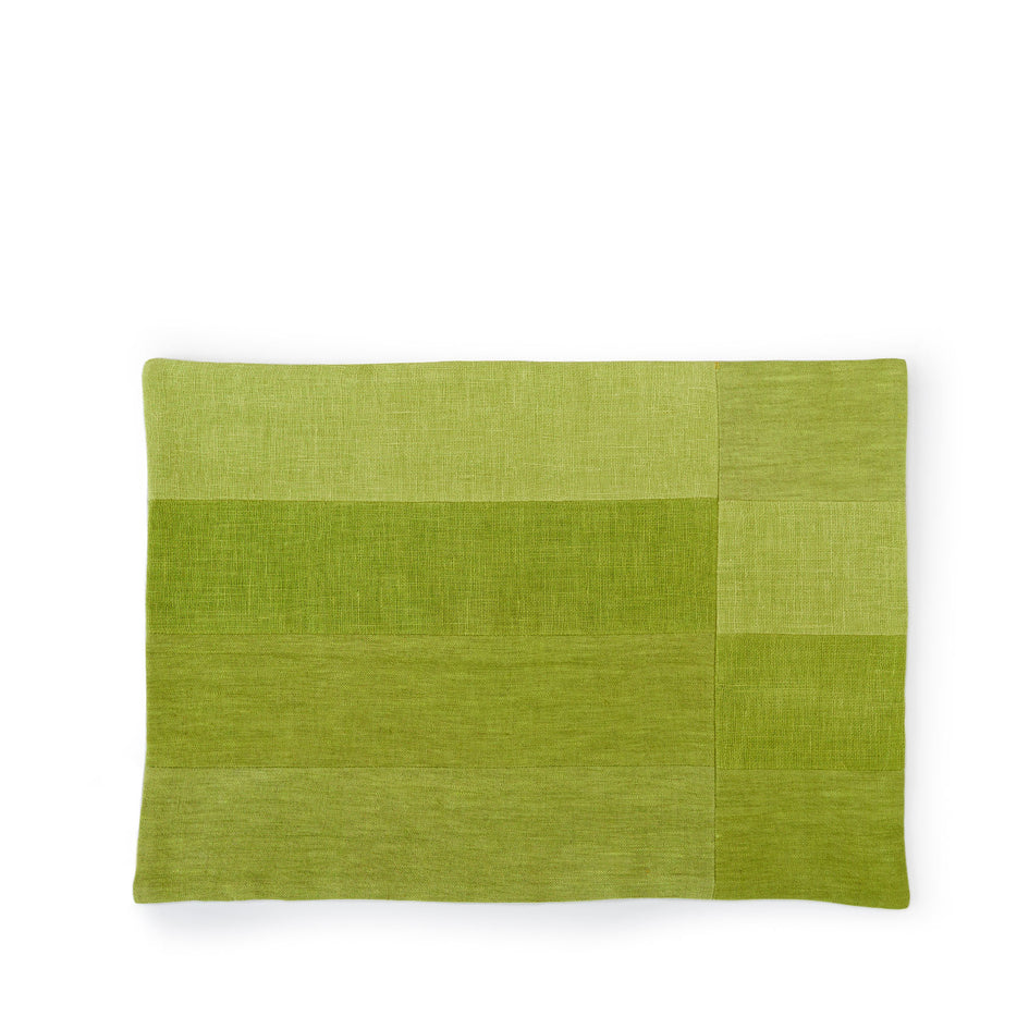 Linen Patchwork Placemat in Avocado Image 1