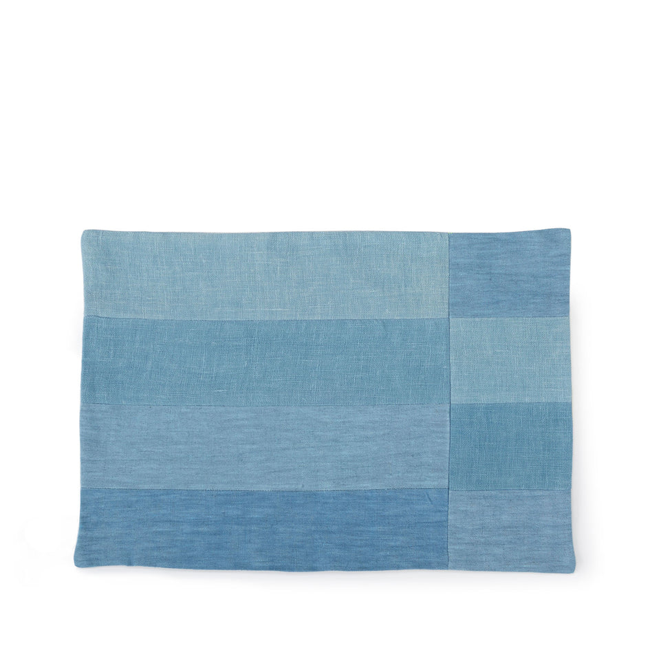 Linen Patchwork Placemat in Chambray Image 1