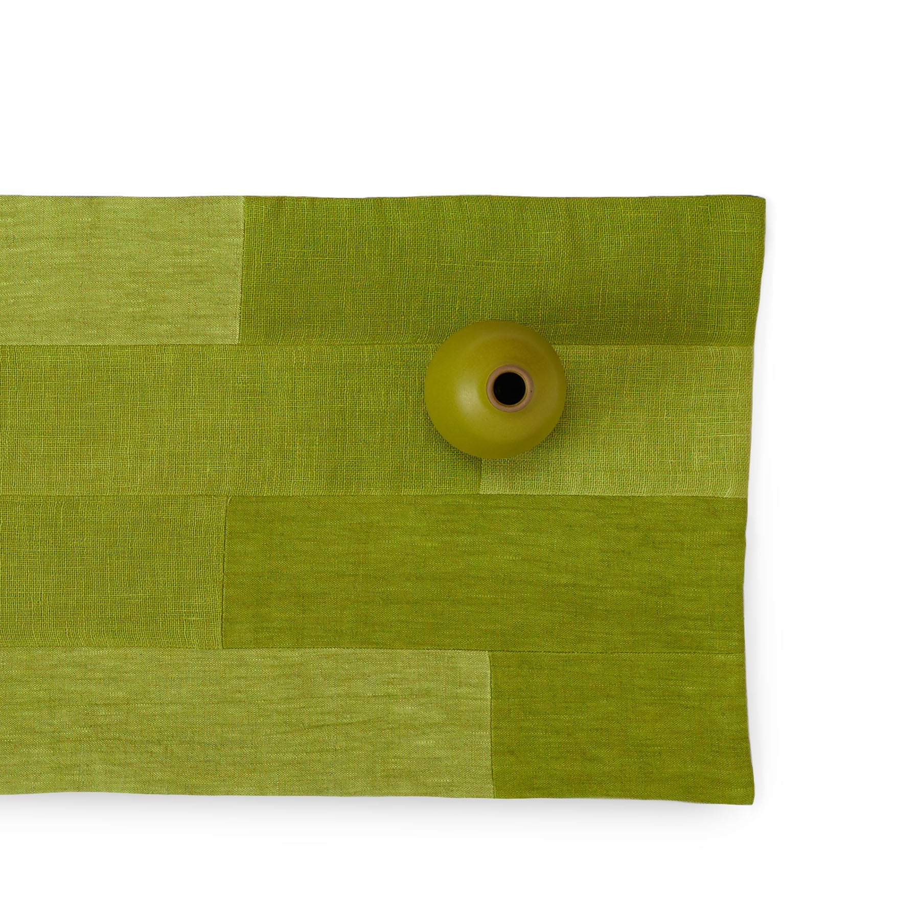 Linen Patchwork Runner in Avocado Zoom Image 1