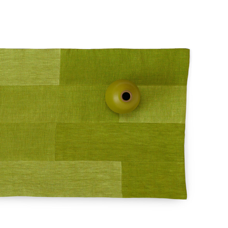 Linen Patchwork Runner in Avocado Image 1