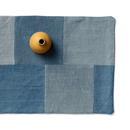 Linen Patchwork Runner in Blue