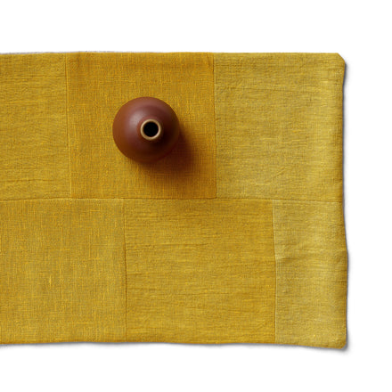 Linen Patchwork Runner in Yellow