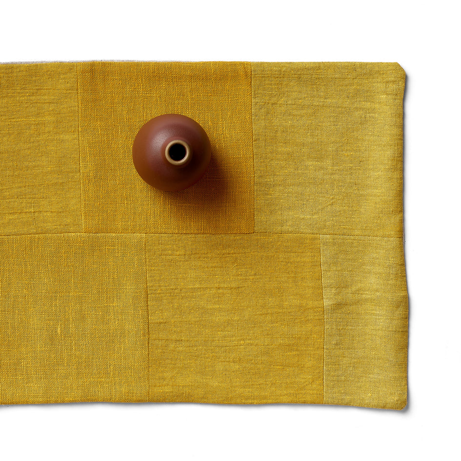 Linen Patchwork Runner in Yellow Image 1