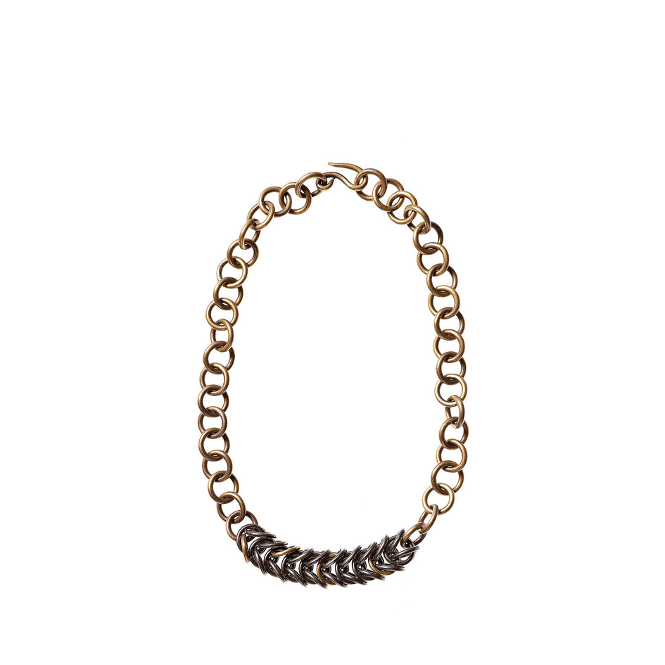 Mixed Metal Box Chain Necklace with Oxidized Brass/Silver Circle Chain Image 1