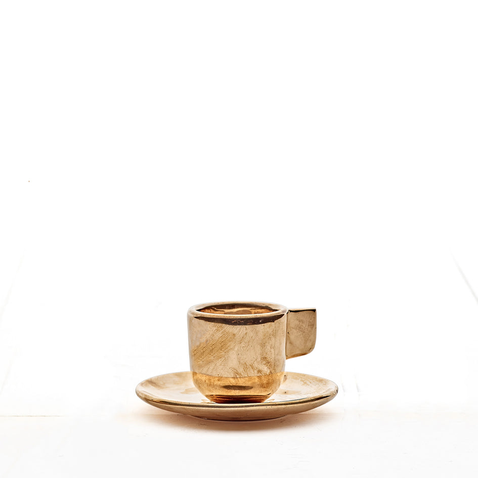 Bronze Espresso Cup and Saucer Image 1