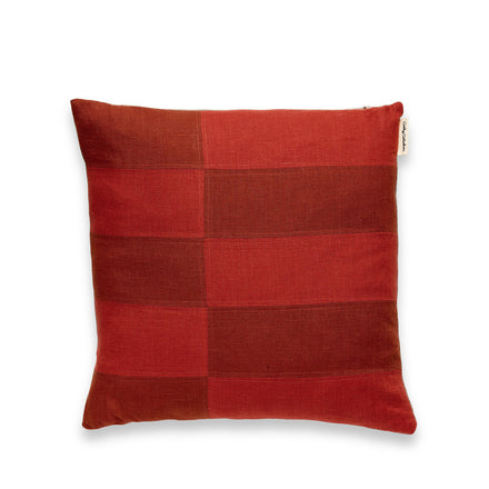 Patchwork Pillow in Rust and Redwood
