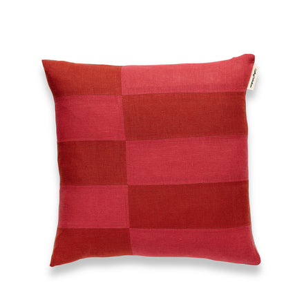 Patchwork Pillow in Rust and Rose