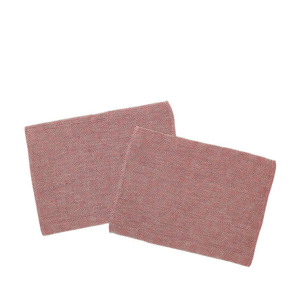Linen Rutig Strandrag Table Mat in Bordeaux/Unbleached (Set of 2)