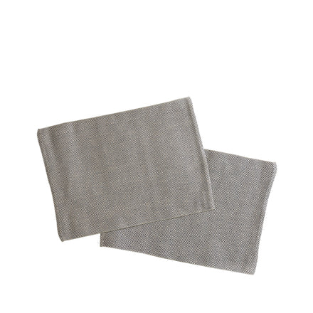 Linen Rutig Strandrag Placemats in Graphite (Set of 2)