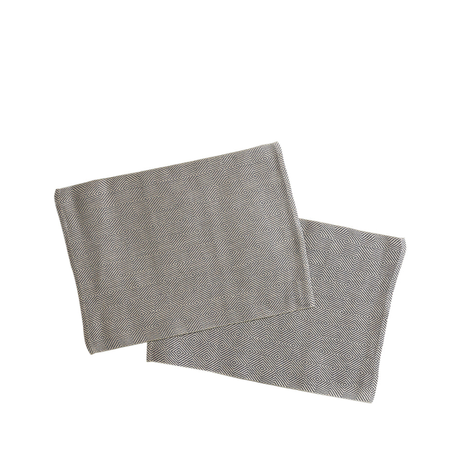 Linen Rutig Strandrag Placemats in Graphite (Set of 2) Image 1