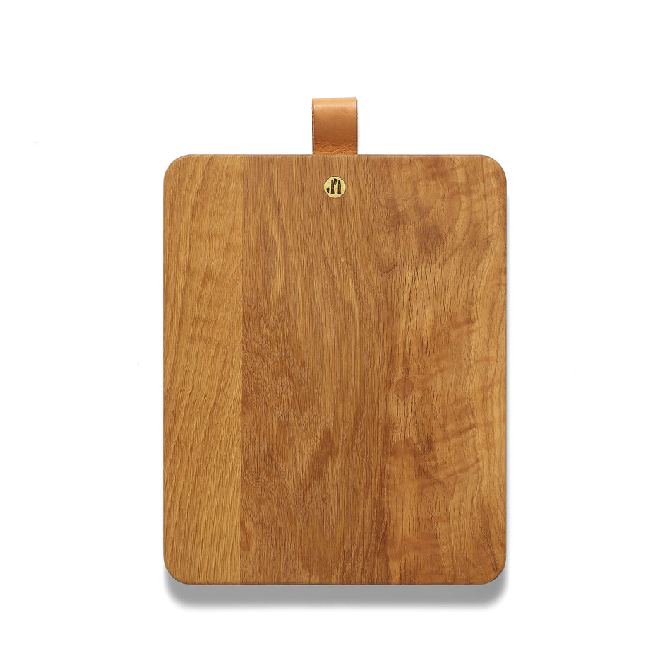 Rectangular White Oak Cutting Board with Leather Tab Image 1